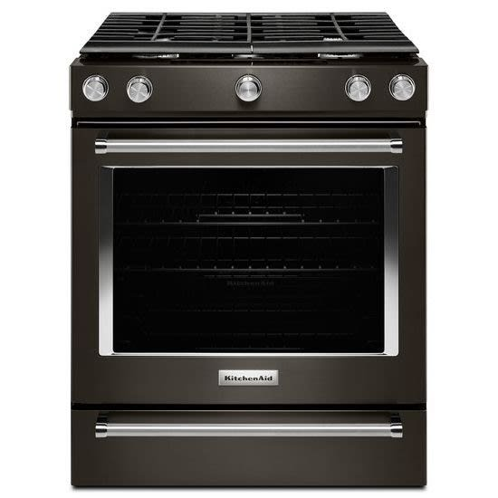 """30"""" Black Stainless Steel Freestanding/Slide-In Natural Gas Range - Convection -"""