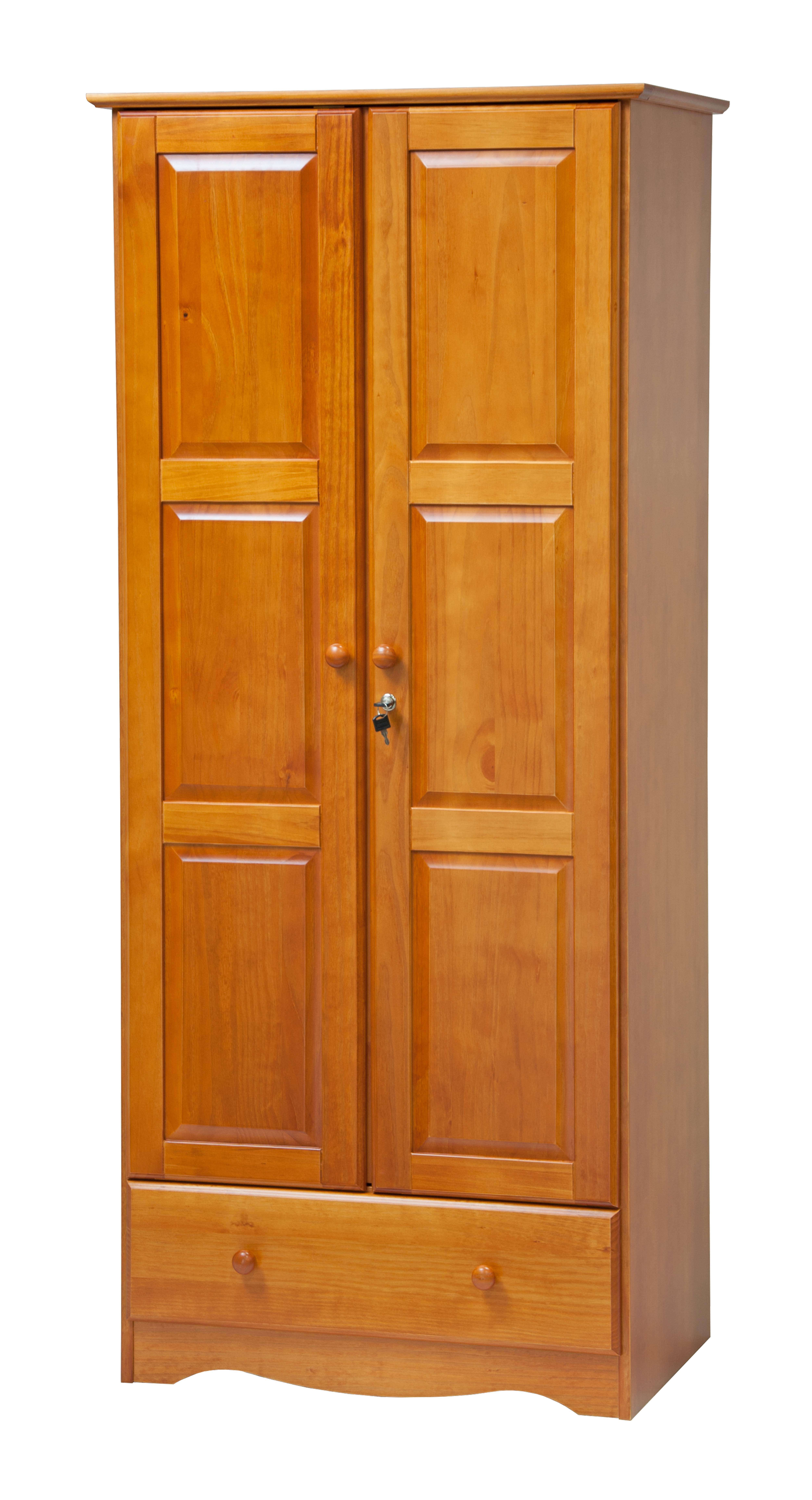 Merveilleux Flexible Locking Solid Wood Wardrobe/Closet/Armoire With Drawer And Shelf  In Honey Pine