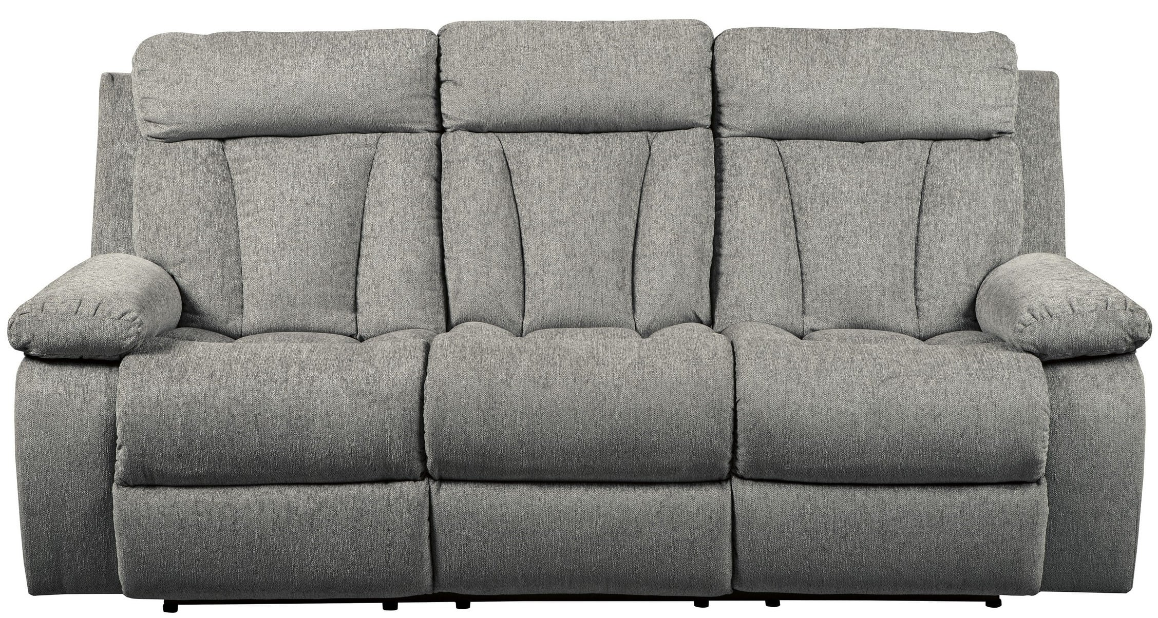 Signature Design By Ashley Mitchiner Gray Reclining Sofa With Drop