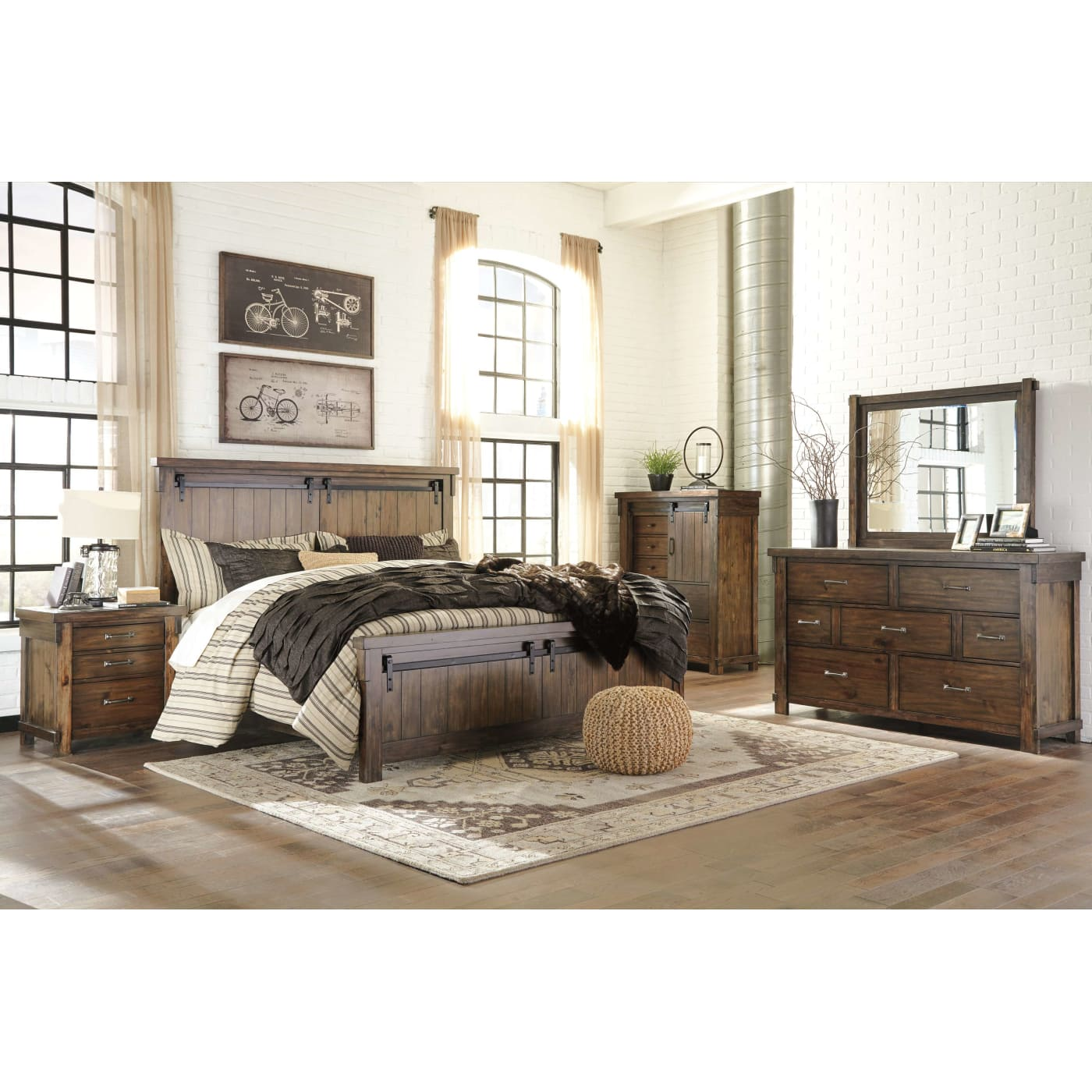 Signature design by ashley lakeleigh brown queen 4 piece - Ashley bedroom furniture reviews ...