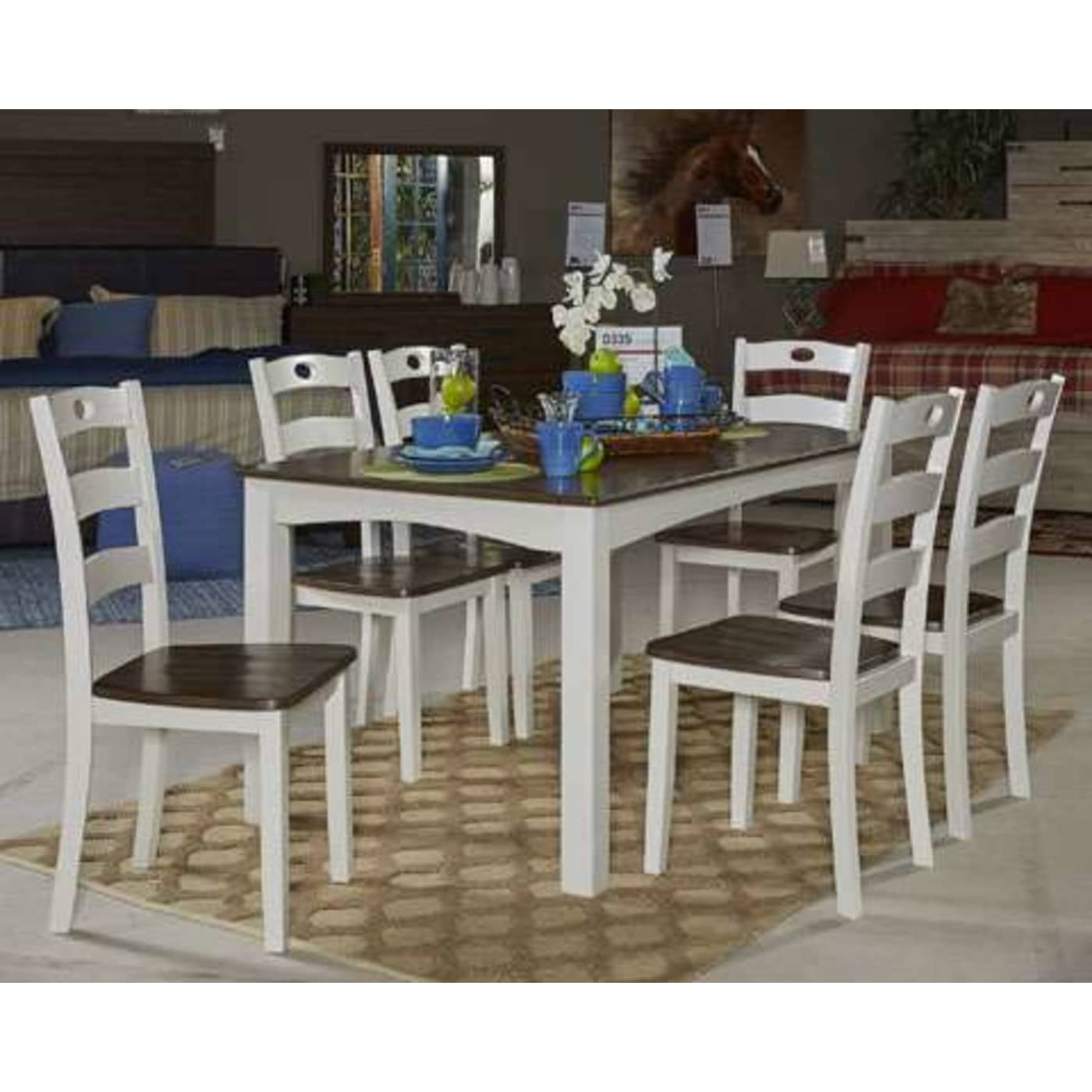 Signature Design by Ashley Woodanville White/Brown 7 Piece Dining ...
