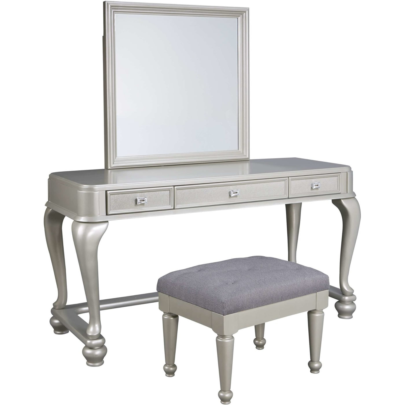 Signature Design By Ashley Cayne Silver Vanity And Mirror Set With Bench Reviews Goedekers Com