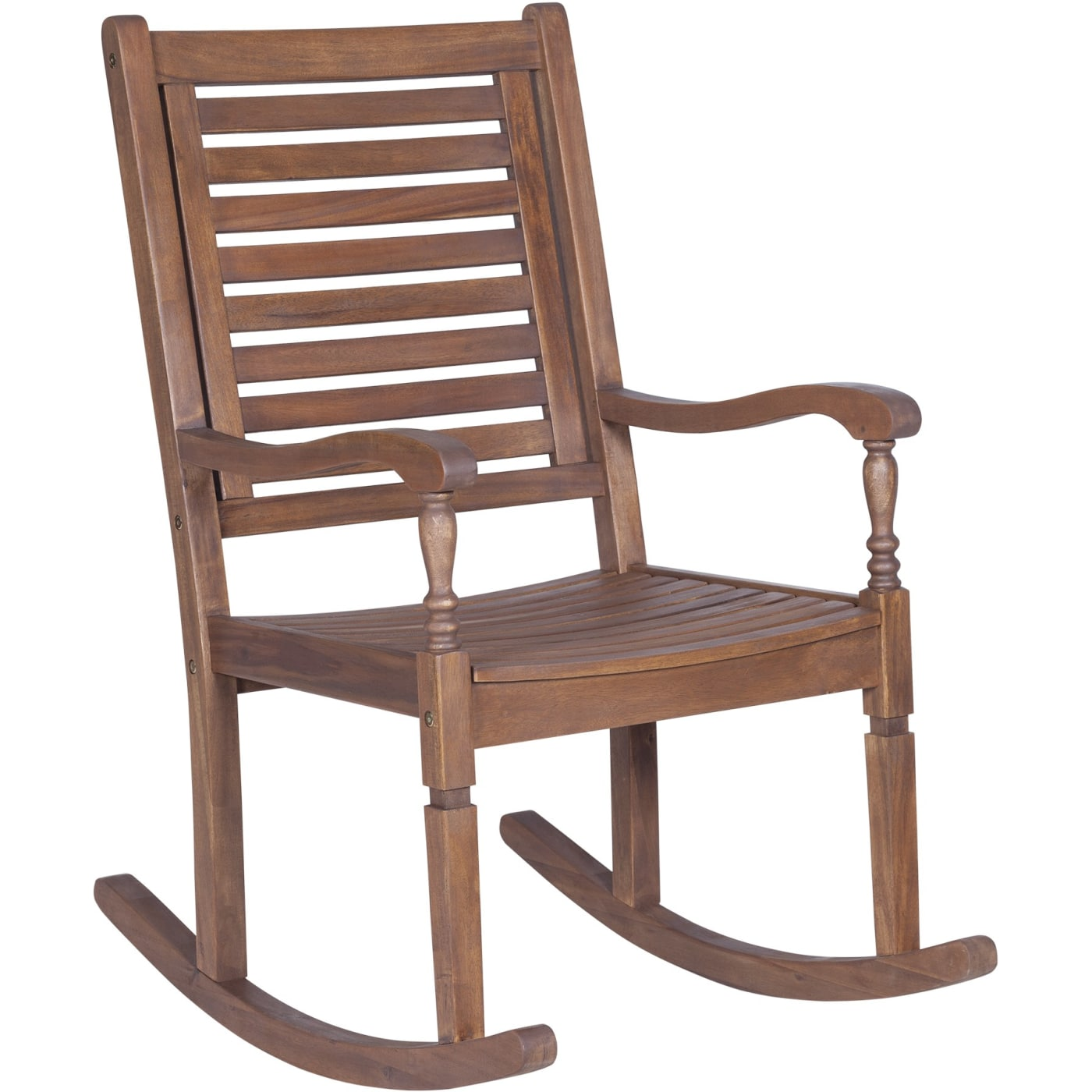 2efbaedad0 Walker Edison Dark Brown Solid Acacia Wood Rocking Patio Chair