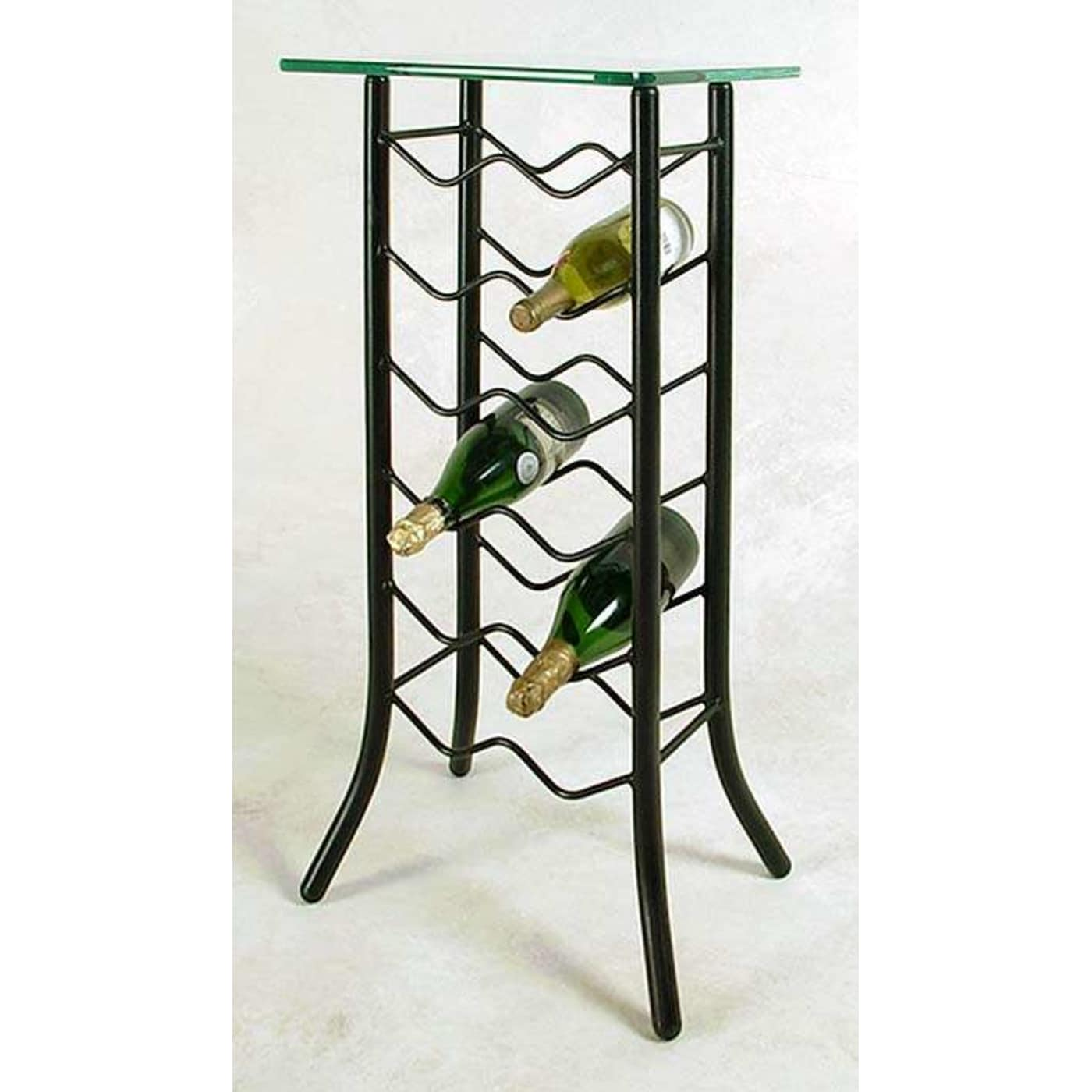 Grace Collection Gun Metal 12 Bottle Wine Rack With Glass Top