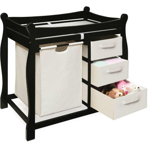 Black Sleigh Style Changing Table With Hamper   3 Baskets