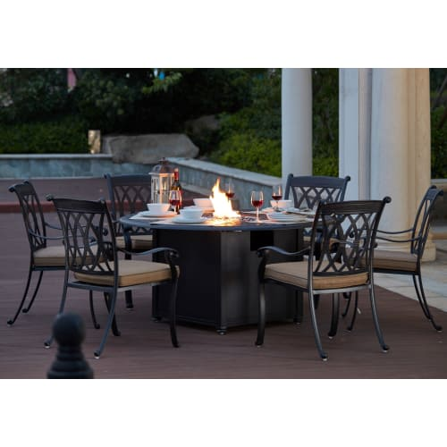 Prime Darlee Capri Cast Aluminum 7 Piece Dining Set With 60 Round Propane Fire Pit Dining Table Reviews Goedekers Com Squirreltailoven Fun Painted Chair Ideas Images Squirreltailovenorg