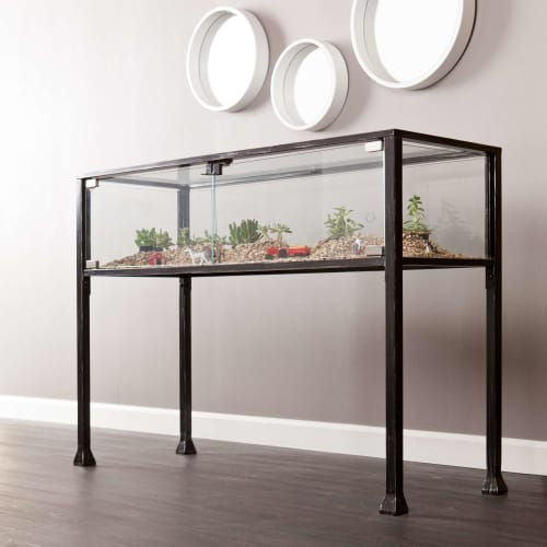Console sofa tables goedekers terrarium black console table with glass panels watchthetrailerfo