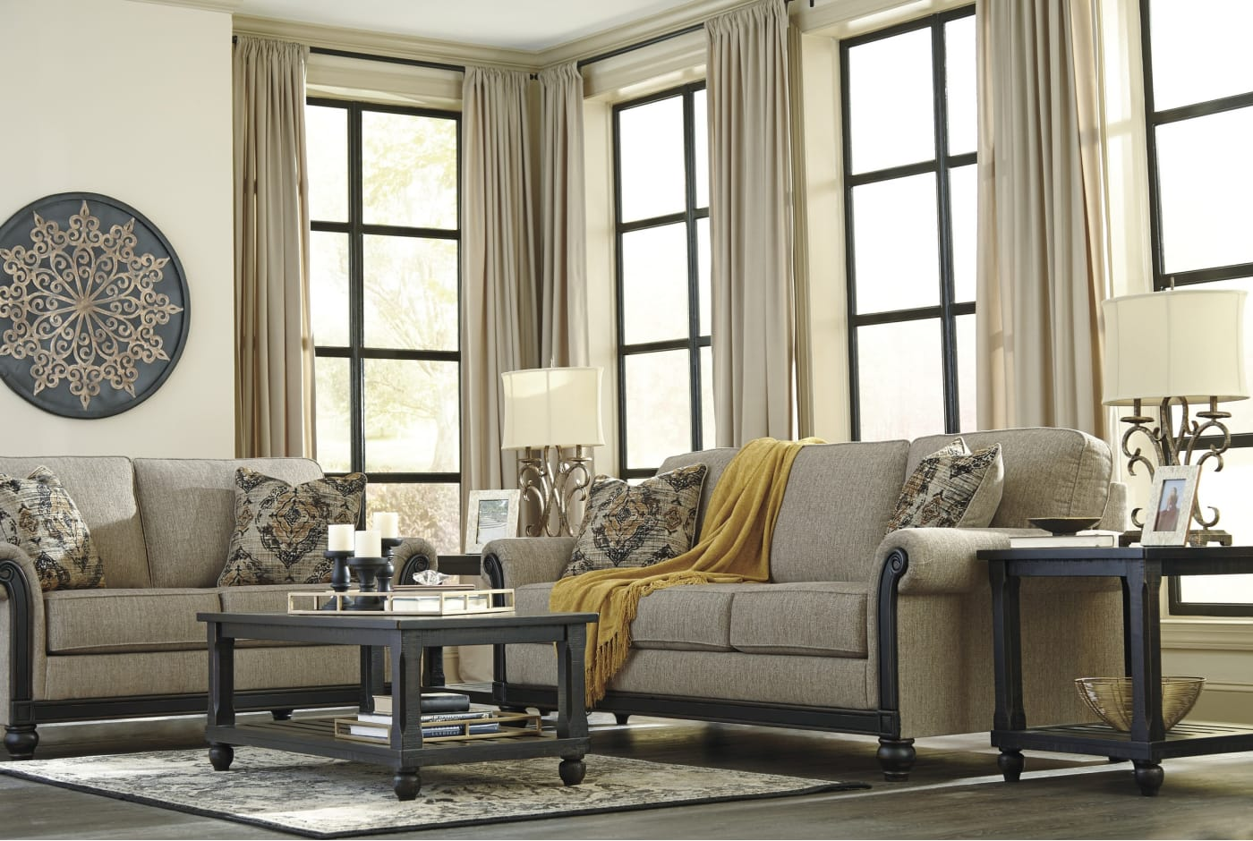 Signature Design By Ashley Blackwood Taupe 3 Piece Living