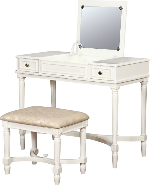 Home Decor Products Inc: Linon Home Decor Products Inc. Cyndi White 2-Piece Vanity