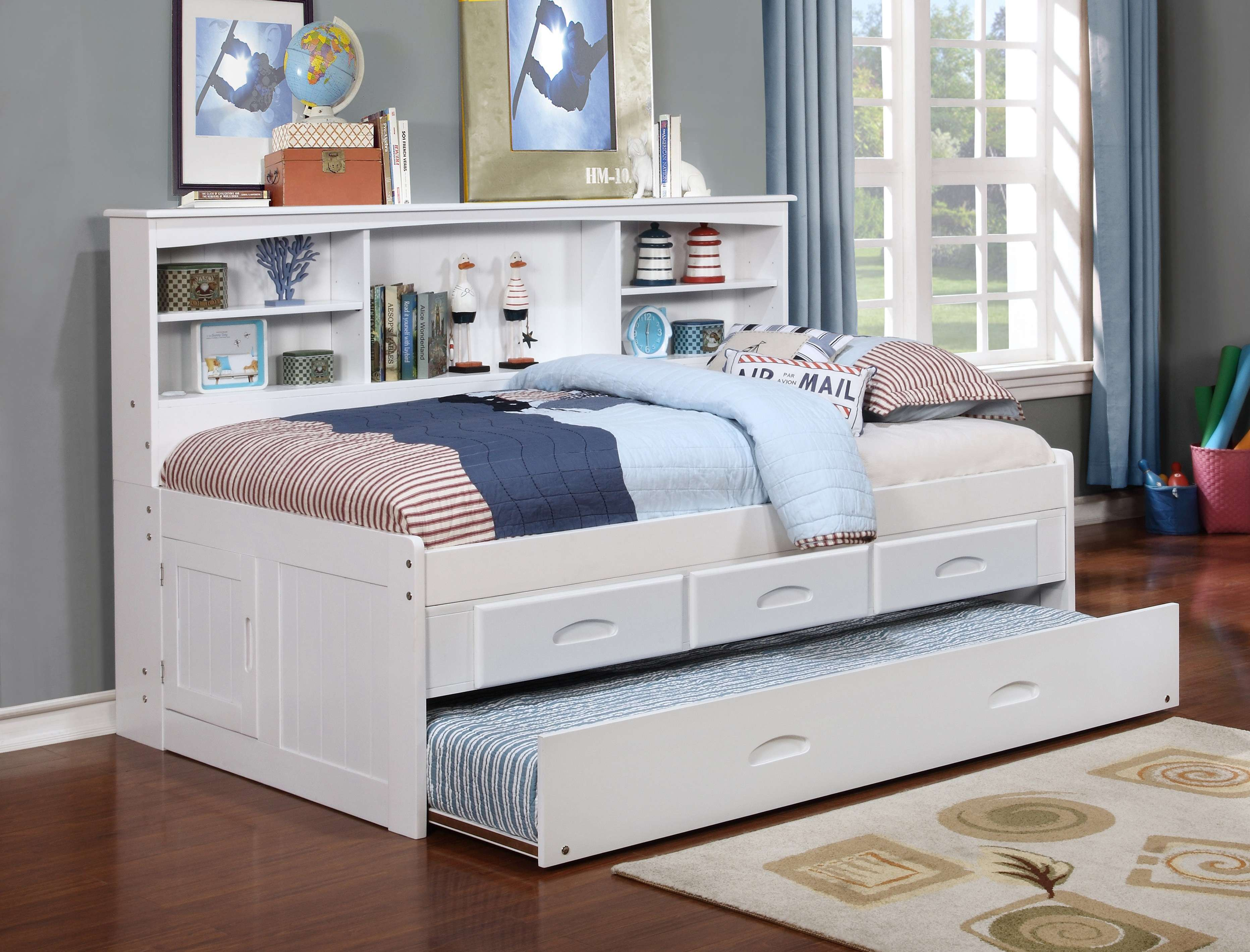 Donco Trading Company White Full Bookcase Daybed Bed With 3 Drawer Storage Unit Trundle Reviews Goedekers Com