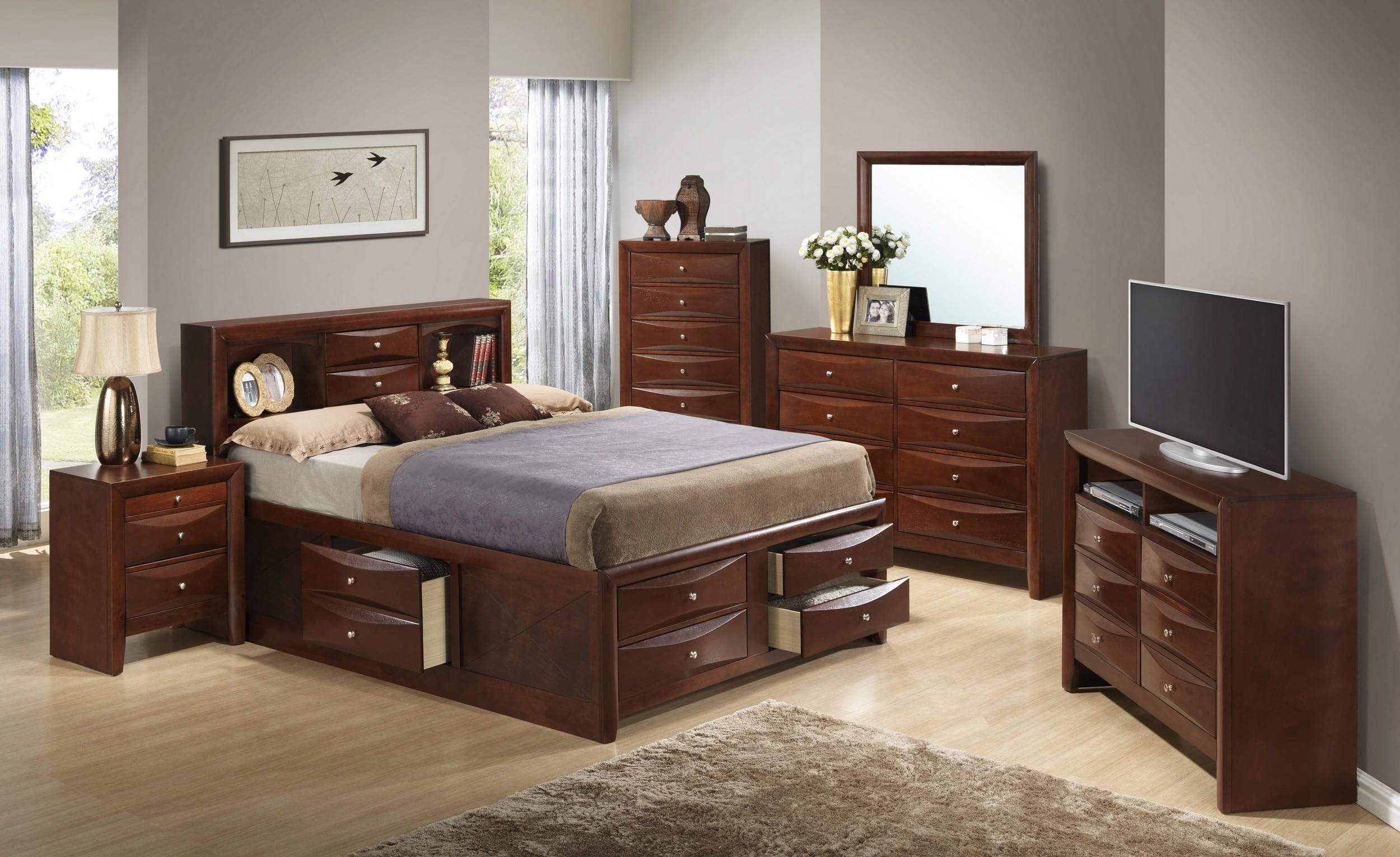 Glory Cherry King Storage 6 Piece Bedroom Set With Bookcase Headboard Reviews Goedekers Com