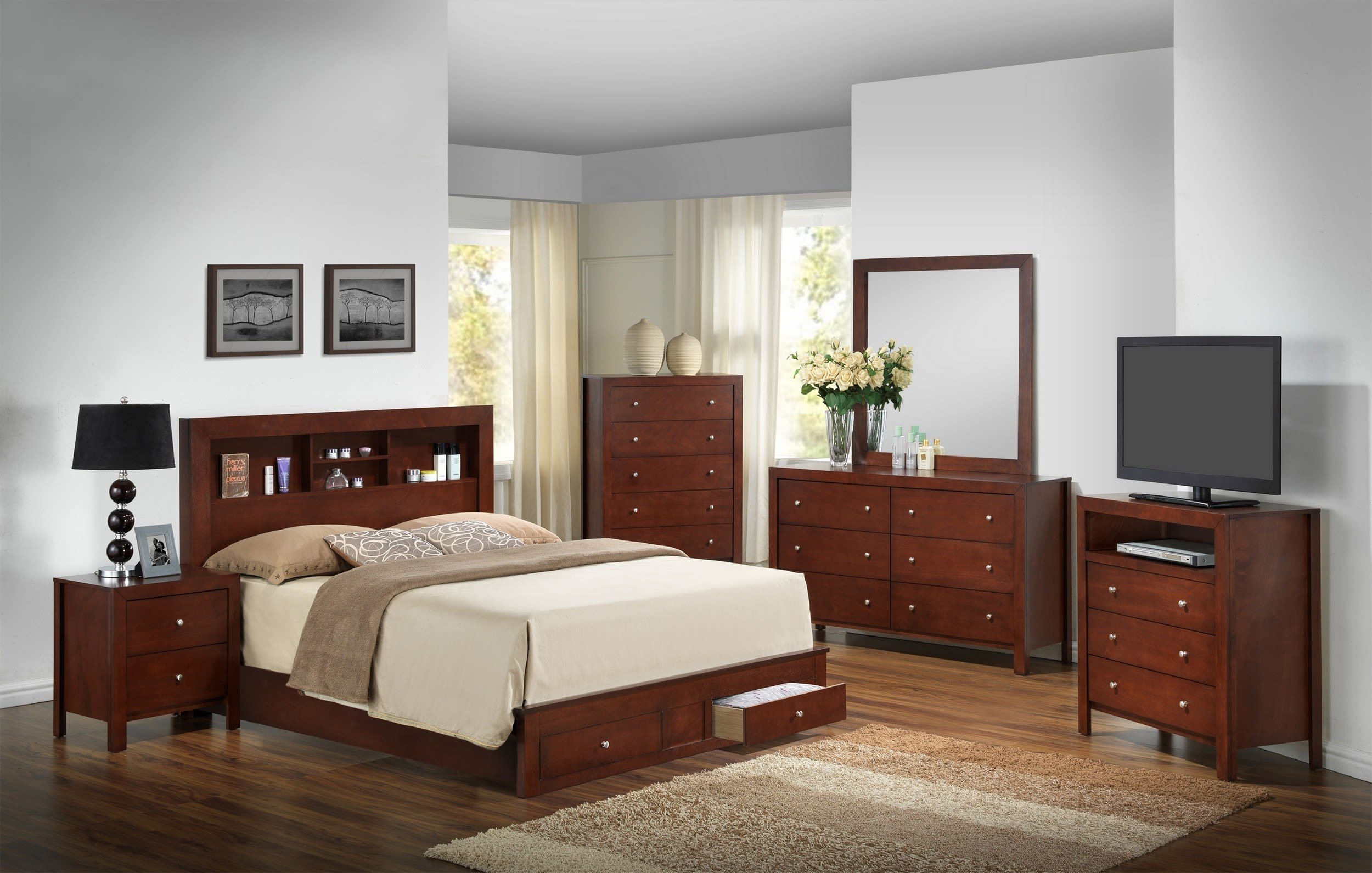 Glory Cherry Queen Storage 6 Piece Bedroom Set With Bookcase Headboard Reviews Goedekers Com