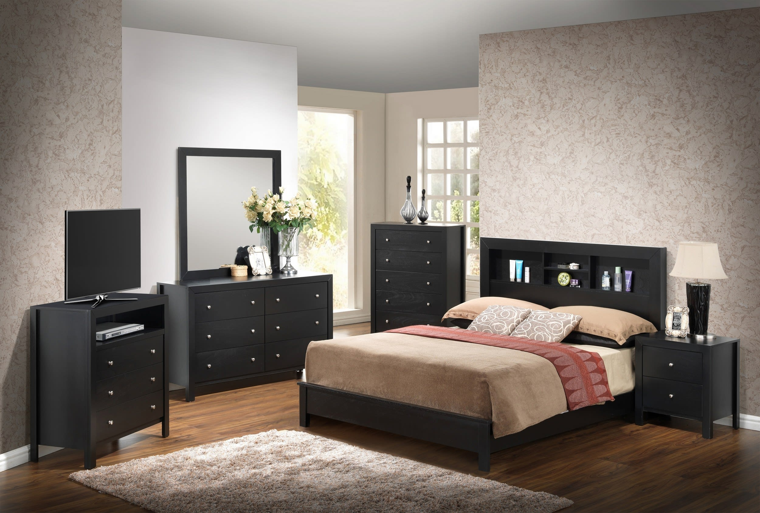 Glory Black Queen 6 Piece Bedroom Set With Bookcase Headboard Reviews Goedekers Com