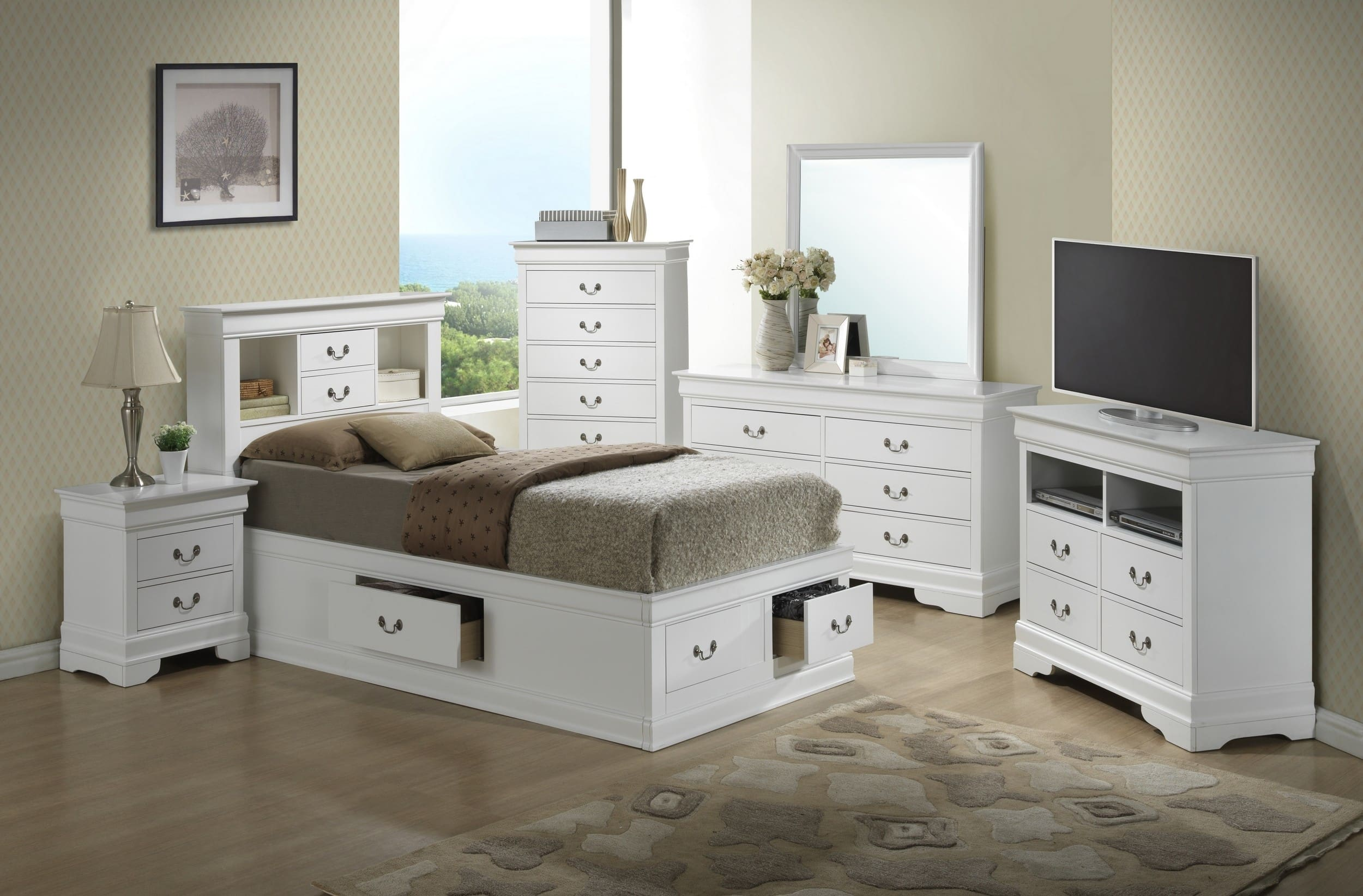 Glory White Twin Storage 6 Piece Bedroom Set With Bookcase Headboard Reviews Goedekers Com