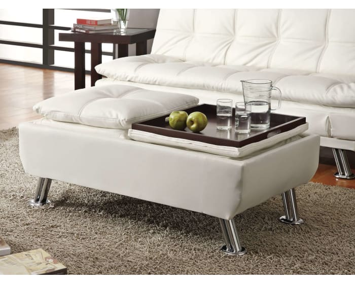 Coaster White Faux Leather Storage Ottoman With Reversible Tray Tops 300293 Goedekers Com