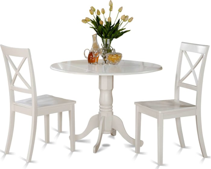 East West Furniture Dublin 3 Piece Dining Table Set Round Drop Leaf Table With 2 Dining Chairs Dlbo3 Whi W Goedekers Com