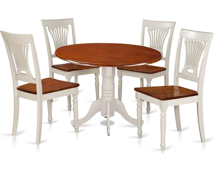 Silver Dining Table And Chairs, East West Furniture Dublin 5 Piece Small Kitchen Table Set Drop Leaf Dining Table And 4 Dining Chairs Dlpl5 Bmk W Goedekers Com