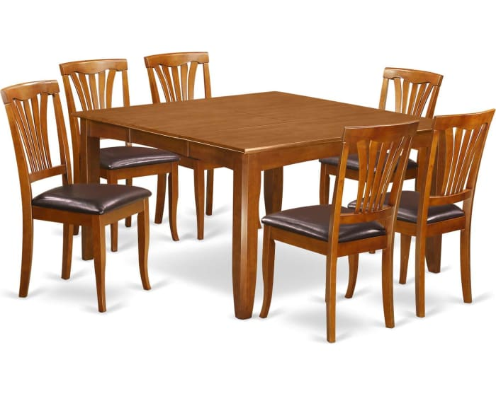 East West Furniture Parfait 9 Piece Dining Table Set Square Table With Leaf And 8 Faux Leather Upholstered Dining Chairs Pfav9 Sbr Lc Goedekers Com