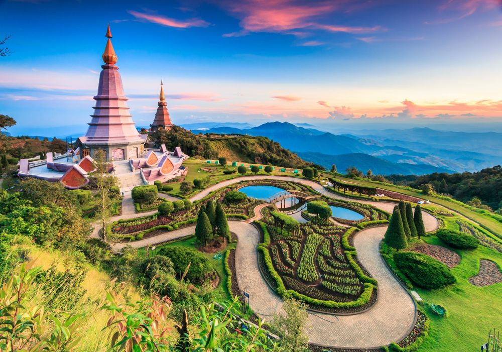 Landscape of Two Pagodas at Sunset in Chiang Mai Thailand