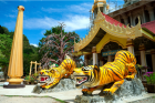 Tiger Sculptures in Front of Krabi Tiger Temple