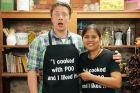 Poo and Student Wearing Aprons at Bangkok Cooking School