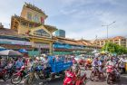 bikes in traffic at the binh tay market