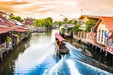 Boat on a Canal in Bangkok