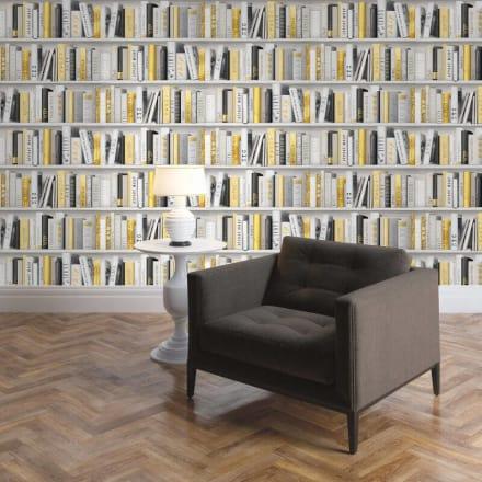 grandeco library book shelf wallpaper pob 33016