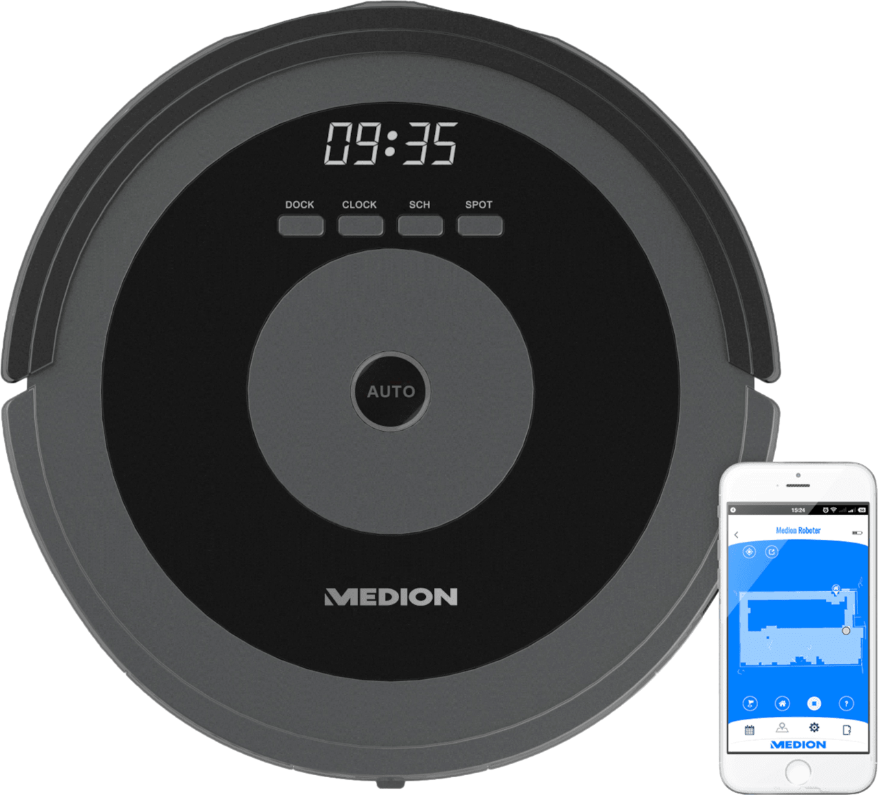 Grey Medion MD 17225 wifi robot vacuum cleaner.1