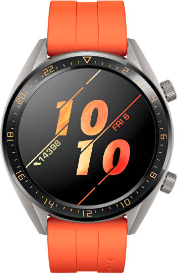 Orange Huawei Watch GT Active, 46mm Stainless steel case, Fluororubber band.1