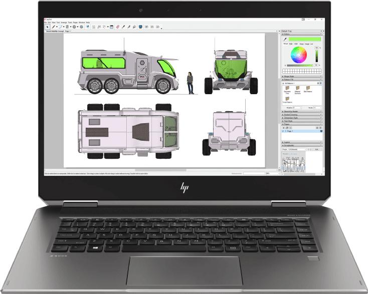 Silber / Schwarz HP ZBook Studio x360 G5.2