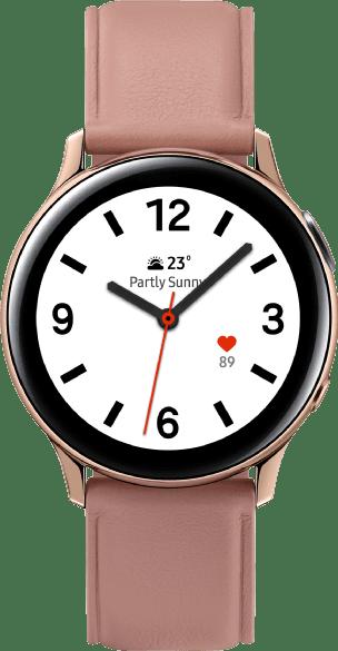 Gold Samsung Galaxy Watch Active2, 40-mm-Edelstahlgehäuse, Lederarmband.1