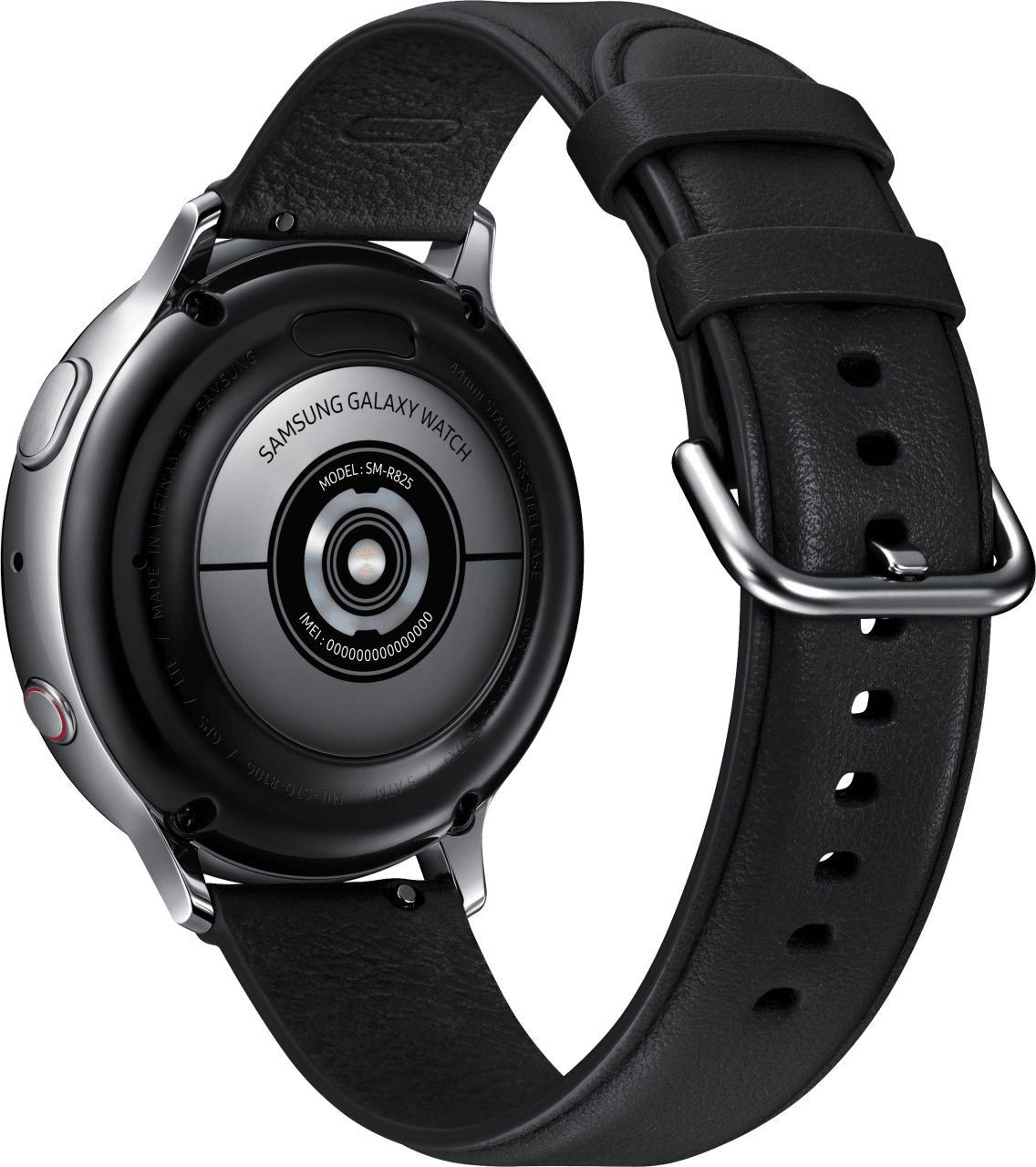 Silver Samsung Galaxy Watch Active2 (LTE), 44mm Stainless steel case, Leather band.3