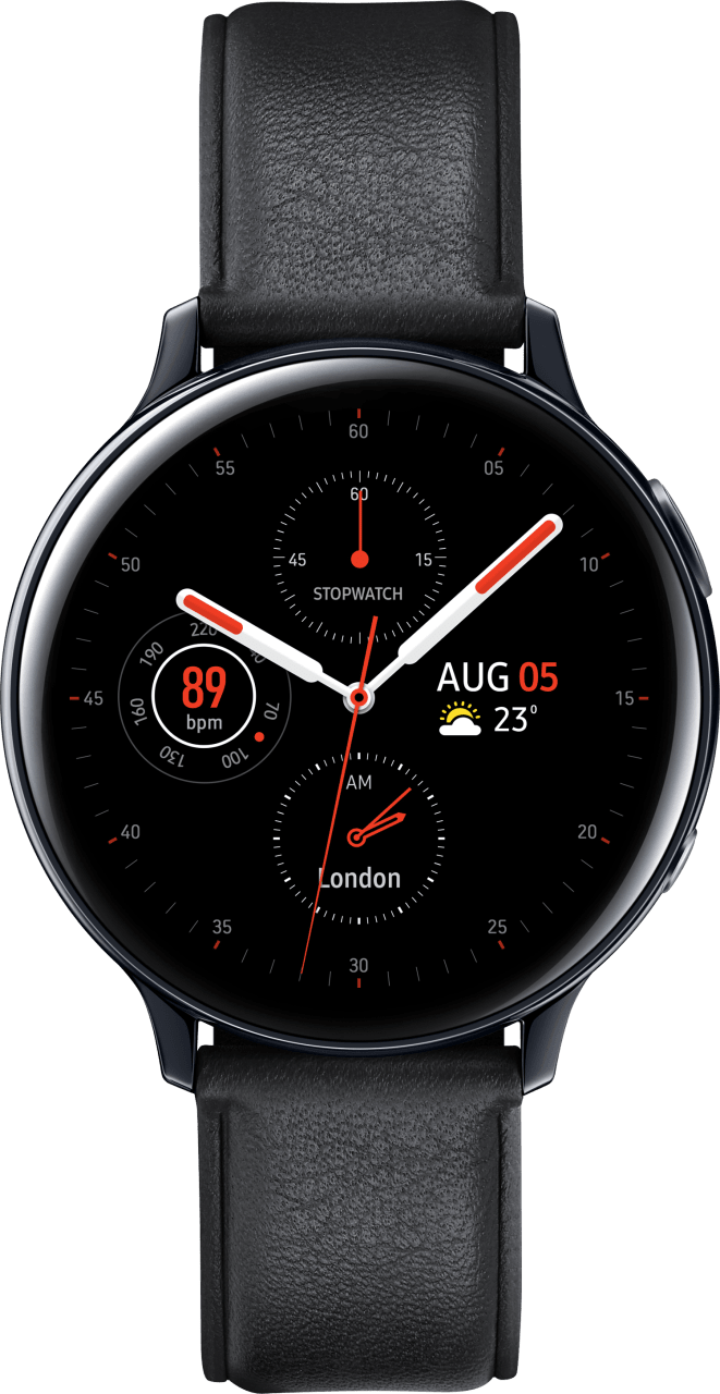 Black Samsung Galaxy Watch Active2, 44mm Stainless steel case, Leather band.1