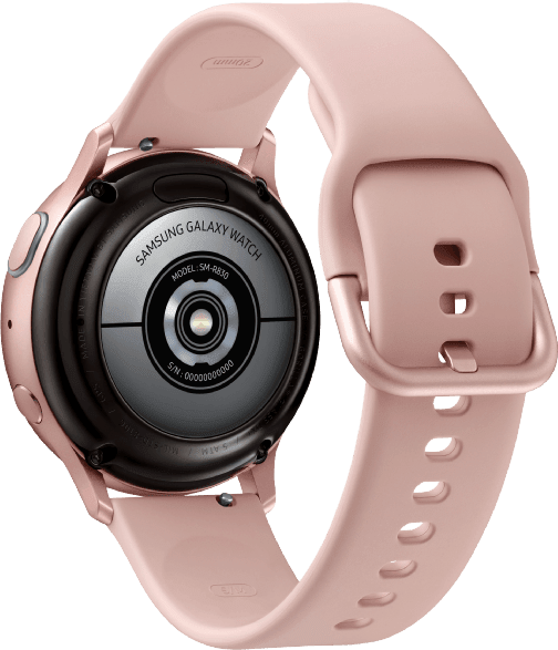 Pink Gold Samsung Galaxy Watch Active2, 40 mm Aluminium-Gehäuse, Sportband.3