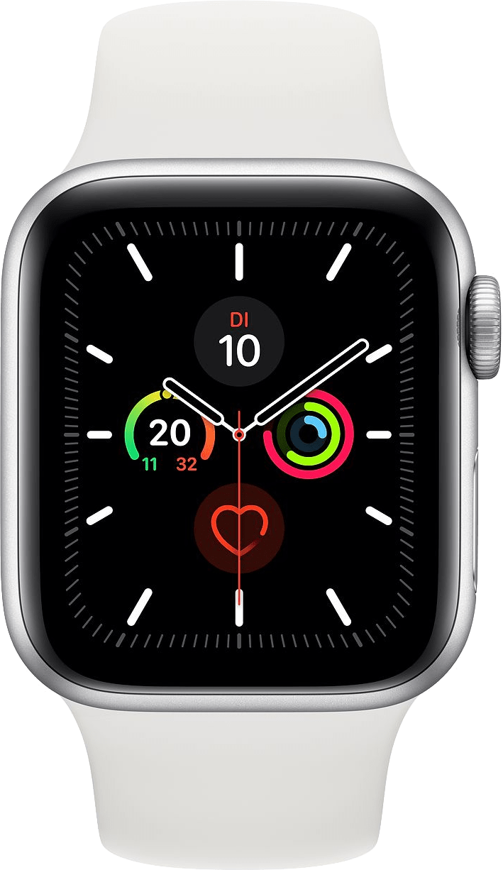 Weiß Apple Watch Series 5 GPS, 40 mm Aluminium-Gehäuse, Sportband.1