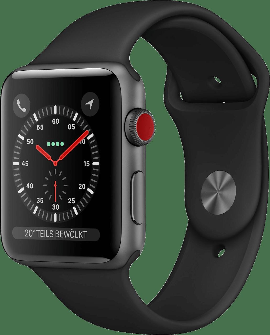 Black Apple Watch Series 3 GPS + Cellular, 38mm Aluminium case, Sport band.2