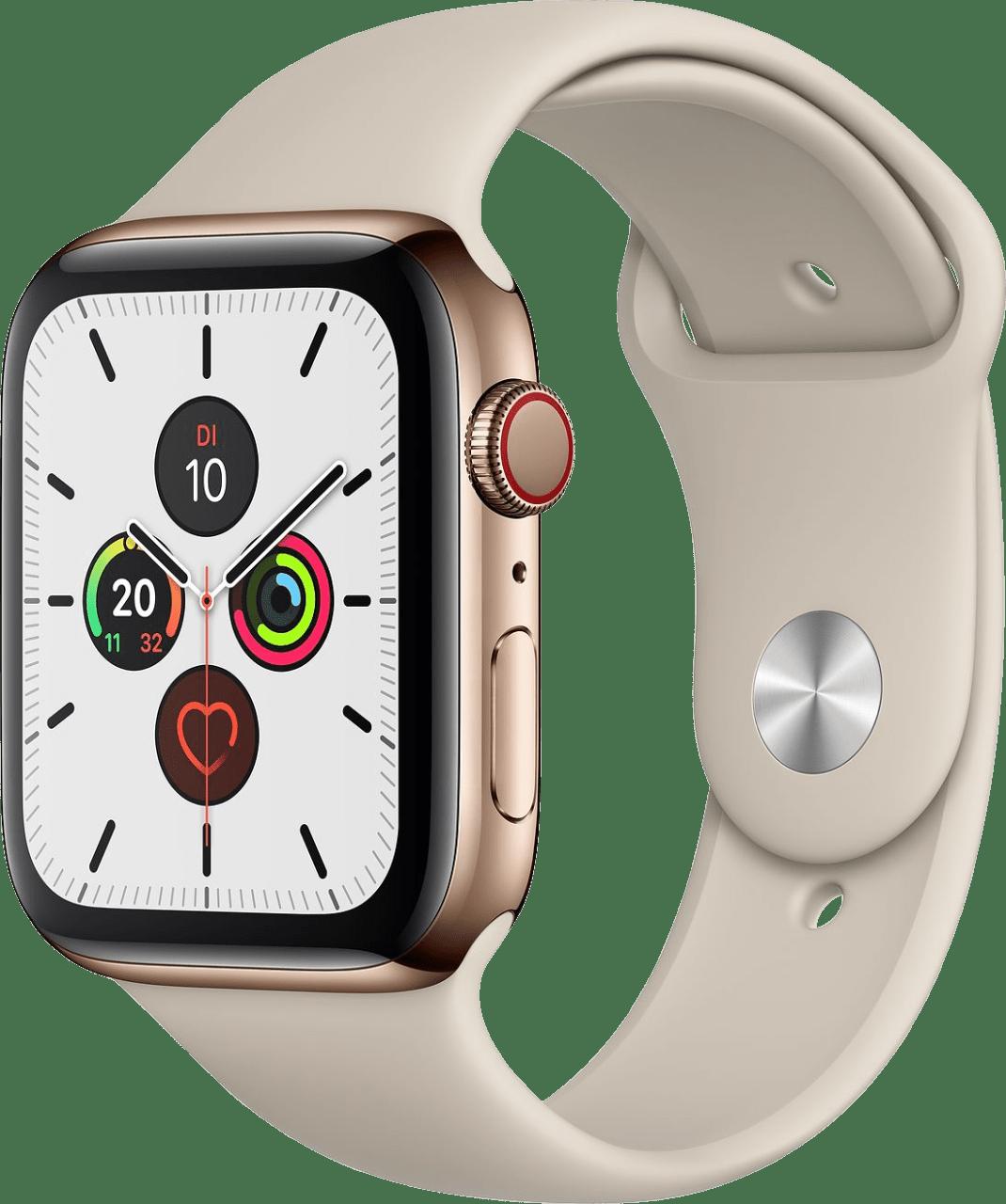 Stein Apple Watch Series 5 GPS + Cellular, 44-mm-Edelstahlgehäuse, Sportarmband.2