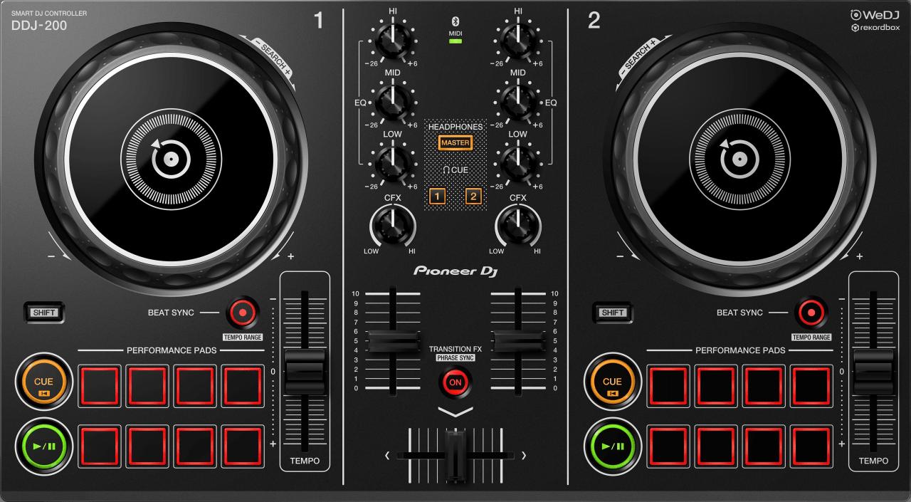 Schwarz Pioneer DDJ-200 Smart DJ-Controller.2