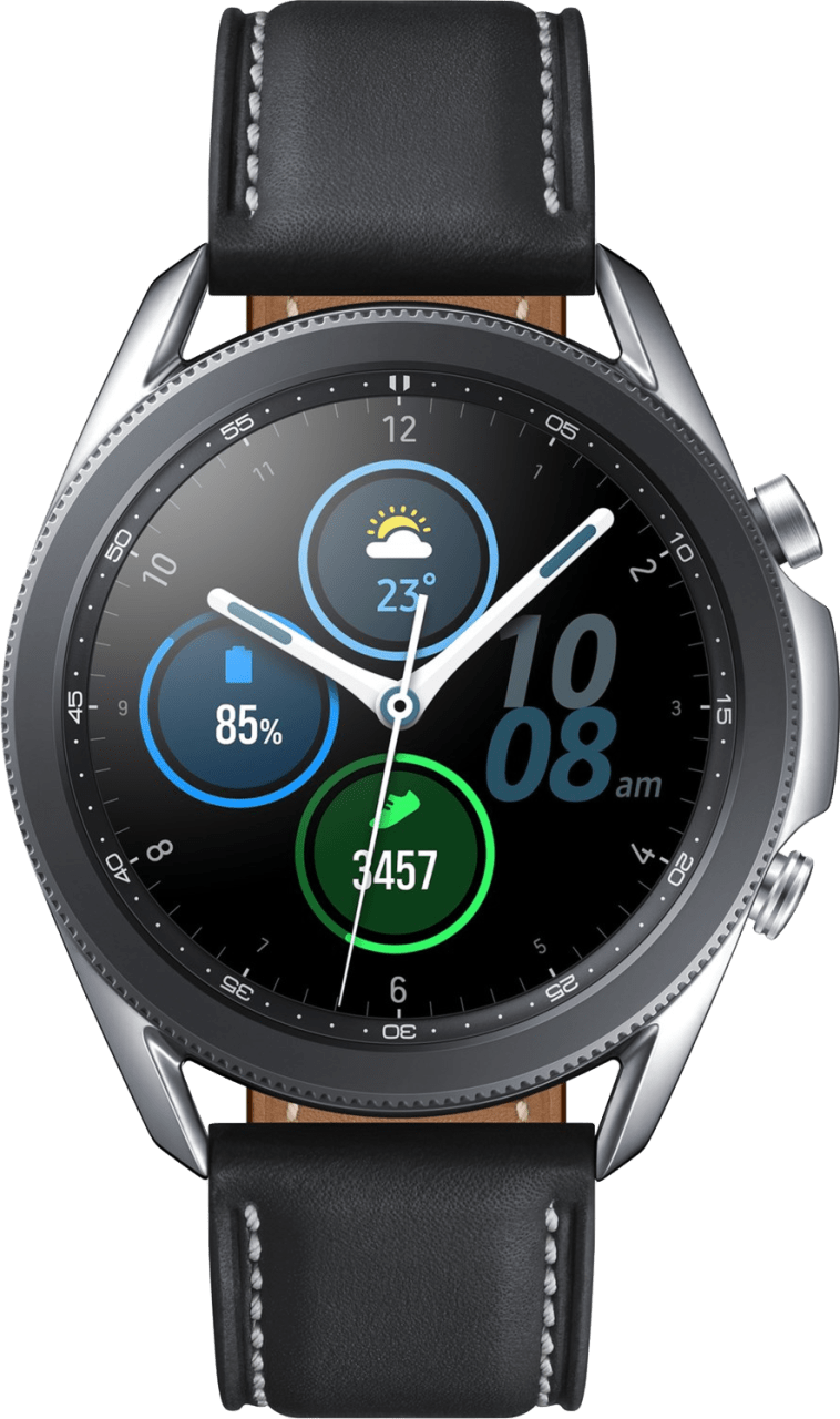 Mystic Zilver Samsung Galaxy Watch3, 45mm Stainless steel case, Real leather band.2