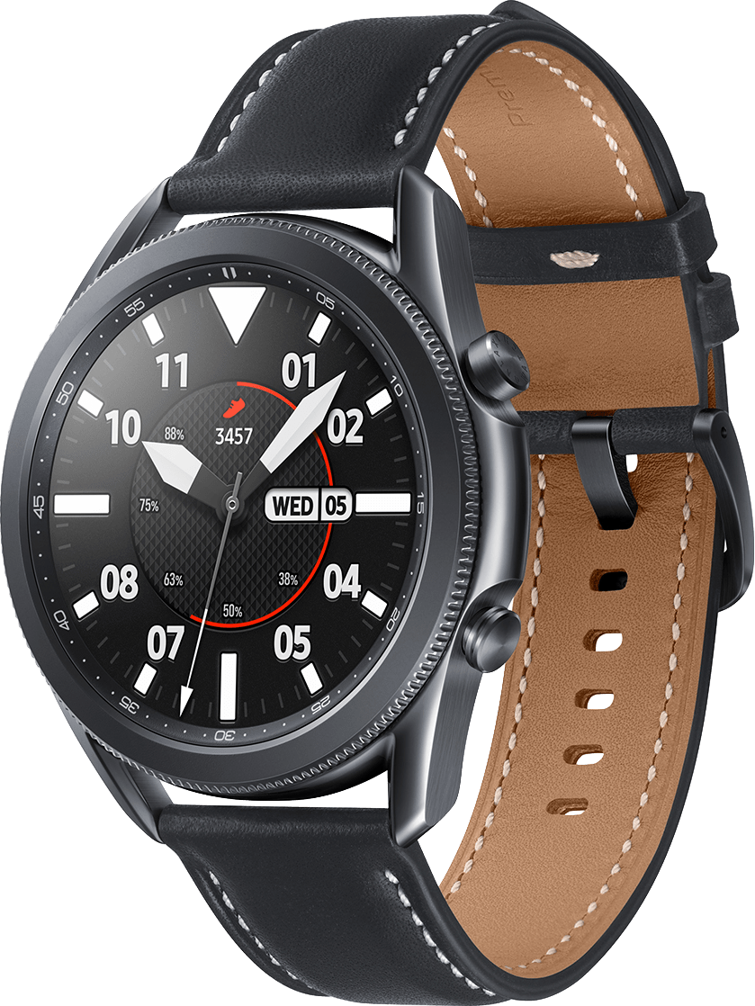 Mystic Black Samsung Galaxy Watch 3 (LTE), 45mm Stainless steel case, Real leather band.1