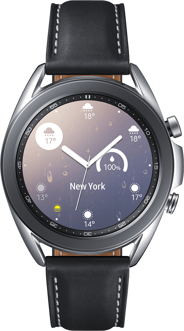 Mystic Silver Samsung Galaxy Watch 3, 41mm Stainless steel case, Real leather band.2