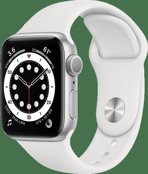 Weiß Apple Watch Serie 6 GPS, 44-mm-Aluminiumgehäuse, Sportarmband.1