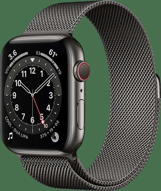 Graphit Apple Watch Series 6 GPS + Cellular , 40-mm-Edelstahlgehäuse, Milanaise Loop.1