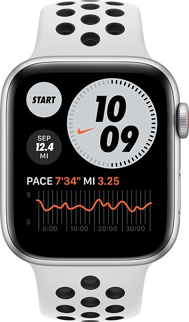Platin / Schwarz Apple Watch Nike SE GPS + Cellular, 44 mm Aluminium-Gehäuse, Sportarmband.2
