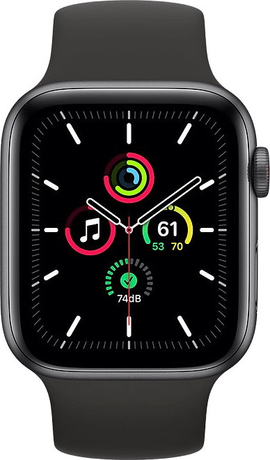 Negro Apple Watch SE GPS + Cellular, 40mm Caja de aluminio, banda deportiva.2