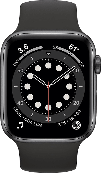 Black Apple Watch Series 6 GPS + Cellular , 44mm Aluminium case, Sport band.2