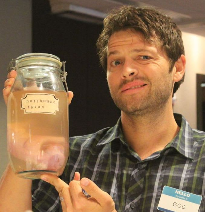 Picture of Misha Collins holding a Hellhound Fetus crafted by Libby Corcoran