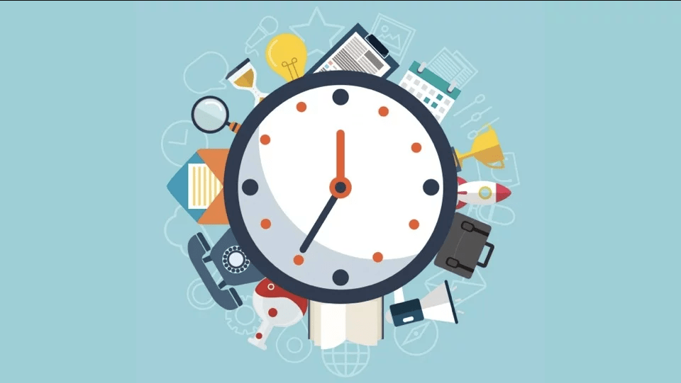A clock, surrounded by activities people might include in their daily routine.