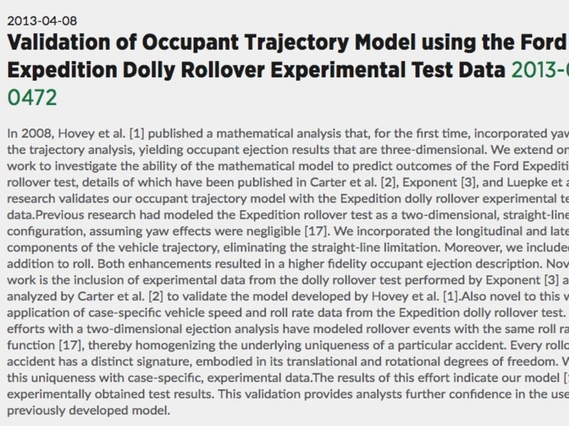 Validation of Occupant Trajectory Model